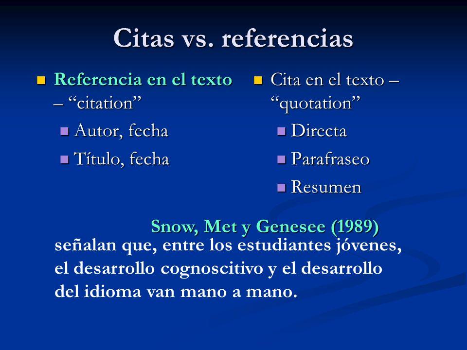 Citas vs. referencias Cita en el texto –quotation Cita en el texto –quotation Directa Directa Parafraseo Parafraseo Resumen Resumen Referencia en el t