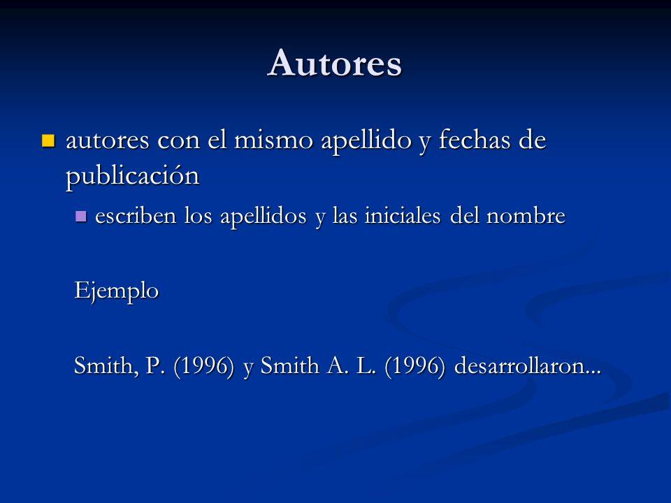 Autores autores con el mismo apellido y fechas de publicación autores con el mismo apellido y fechas de publicación escriben los apellidos y las inici