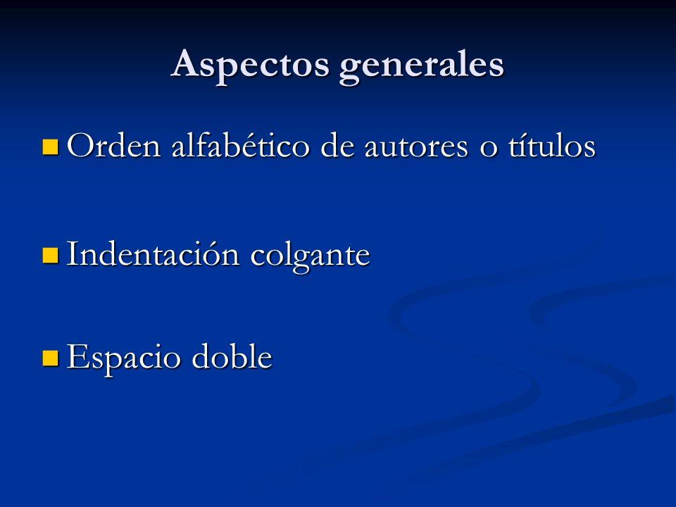 Aspectos generales Orden alfabético de autores o títulos Orden alfabético de autores o títulos Indentación colgante Indentación colgante Espacio doble