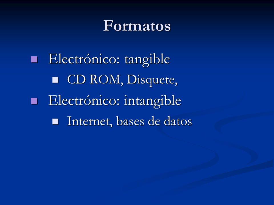 Electrónico: tangible Electrónico: tangible CD ROM, Disquete, CD ROM, Disquete, Electrónico: intangible Electrónico: intangible Internet, bases de dat
