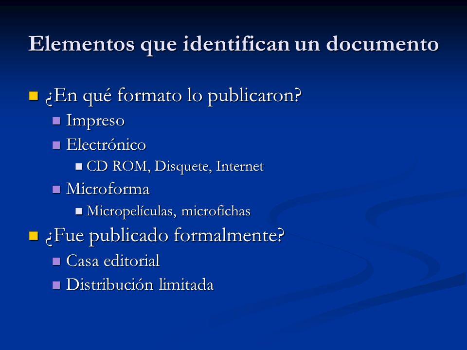 Elementos que identifican un documento ¿En qué formato lo publicaron? ¿En qué formato lo publicaron? Impreso Impreso Electrónico Electrónico CD ROM, D