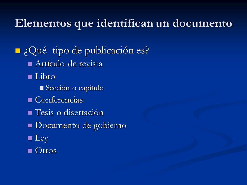 Elementos que identifican un documento ¿Qué tipo de publicación es? ¿Qué tipo de publicación es? Artículo de revista Artículo de revista Libro Libro S