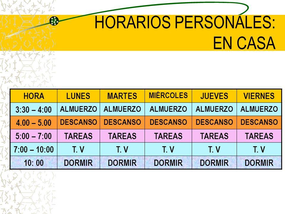 HORARIOS PERSONALES: EN EL COLEGIO HORALUNESMARTES MIÉRCOLES JUEVESVIERNES 6: 00Me levanto 6:10 – 6:20Aseo aseo 6:30 – 6: 40Desayuno desayuno 6:50- 7: