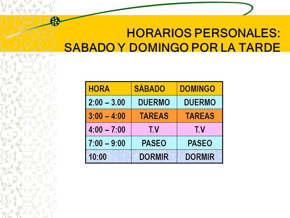 HORARIOS PERSONALES: SÁBADO Y DOMINGO EN LA MAÑANA HORASÁBADODOMINGO 9: 00Me levanto 9.10 – 9:20Aseo 9:20 – 9:50Desayuno 10:00 – 12:00T.VARREGLAR MI C