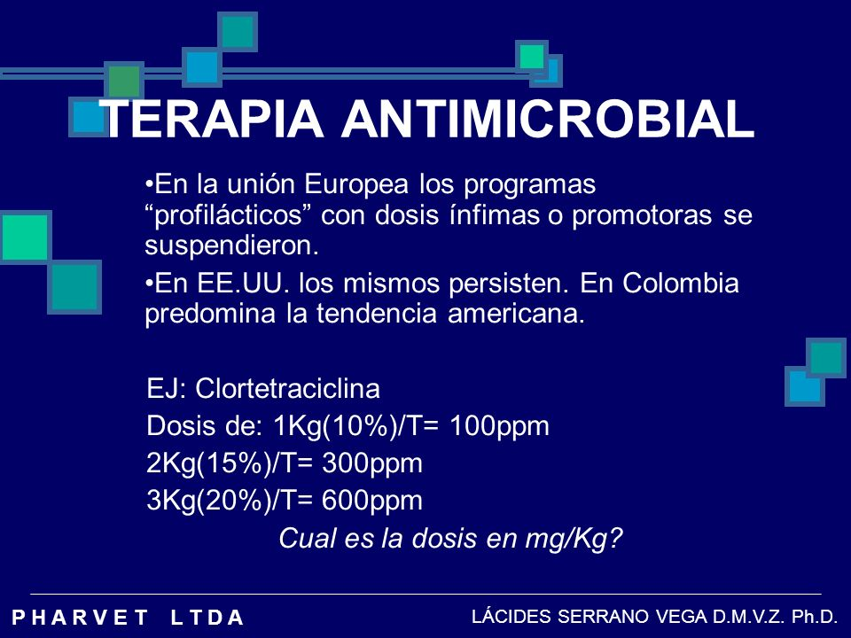 TILMICOSINA EN AVES Farmacocinetica: Dosis: 50 mg/kg Via: Oral Vida Media de eliminacion: t 1/2 Plasma : 30.18+/- 2.38 h Pulmon : 75.74+/- 3.67 h Keles O, et al 2001 LÁCIDES SERRANO VEGA D.M.V.Z.
