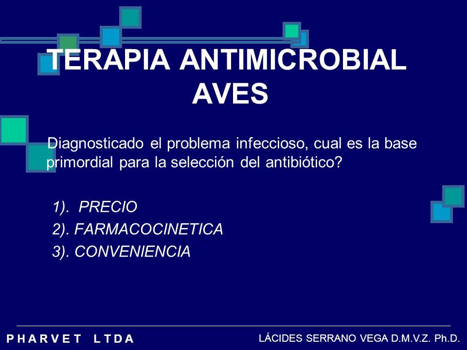 TERAPIA ANTIMICROBIAL AVES SELECCIÓN ANTIBIOTICO: Por costo, siempre se recomendara dosis subterapeuticas, que no ejercen la eficacia buscada.