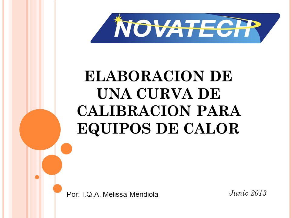 ELABORACION DE UNA CURVA DE CALIBRACION PARA EQUIPOS DE CALOR Junio 2013 Por: I.Q.A. Melissa Mendiola