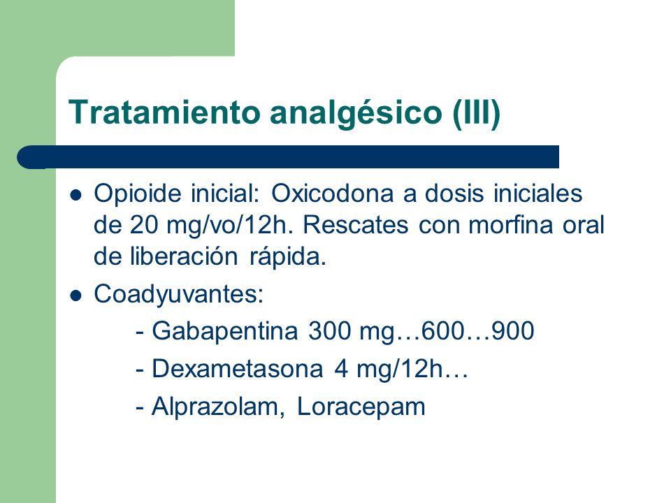 Tratamiento analgésico (IV) Dolor basal no controlado satisfactoriamente tras incremento progresivo de dosis de oxicodona (EVA de 4) Dolor irruptivo parcialmente controlado en intensidad y frecuencia tras consejos posturales y toma preventiva de morfina oral de liberación normal (hasta dosis 20-30 mg)