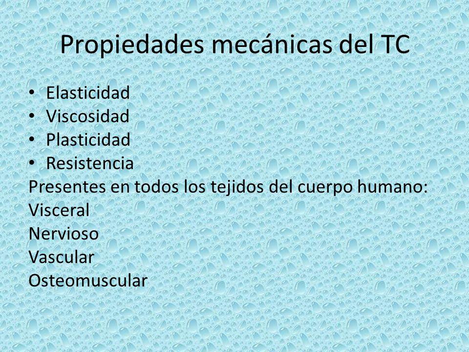 Propiedades mecánicas del TC Elasticidad Viscosidad Plasticidad Resistencia Presentes en todos los tejidos del cuerpo humano: Visceral Nervioso Vascul