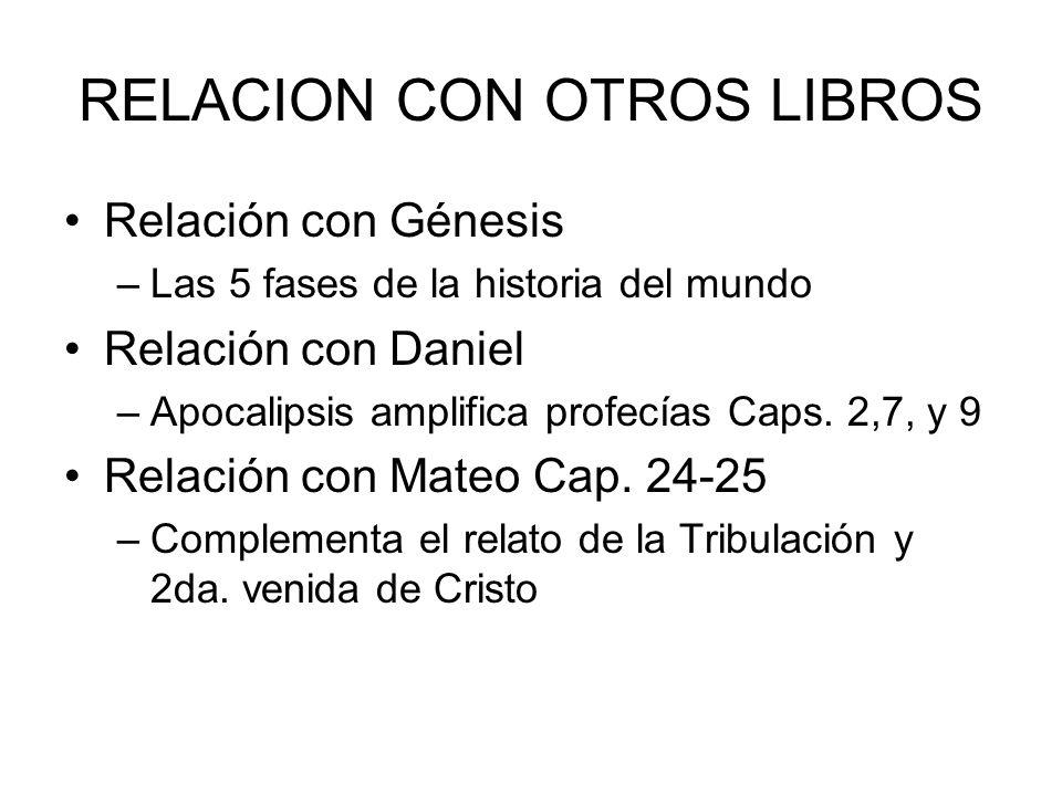 RELACION CON OTROS LIBROS Relación con Génesis –Las 5 fases de la historia del mundo Relación con Daniel –Apocalipsis amplifica profecías Caps. 2,7, y