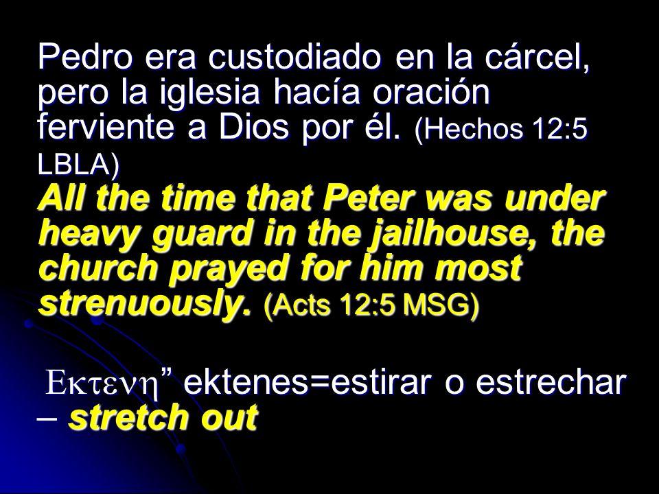 Pedro era custodiado en la cárcel, pero la iglesia hacía oración ferviente a Dios por él. (Hechos 12:5 LBLA) All the time that Peter was under heavy g