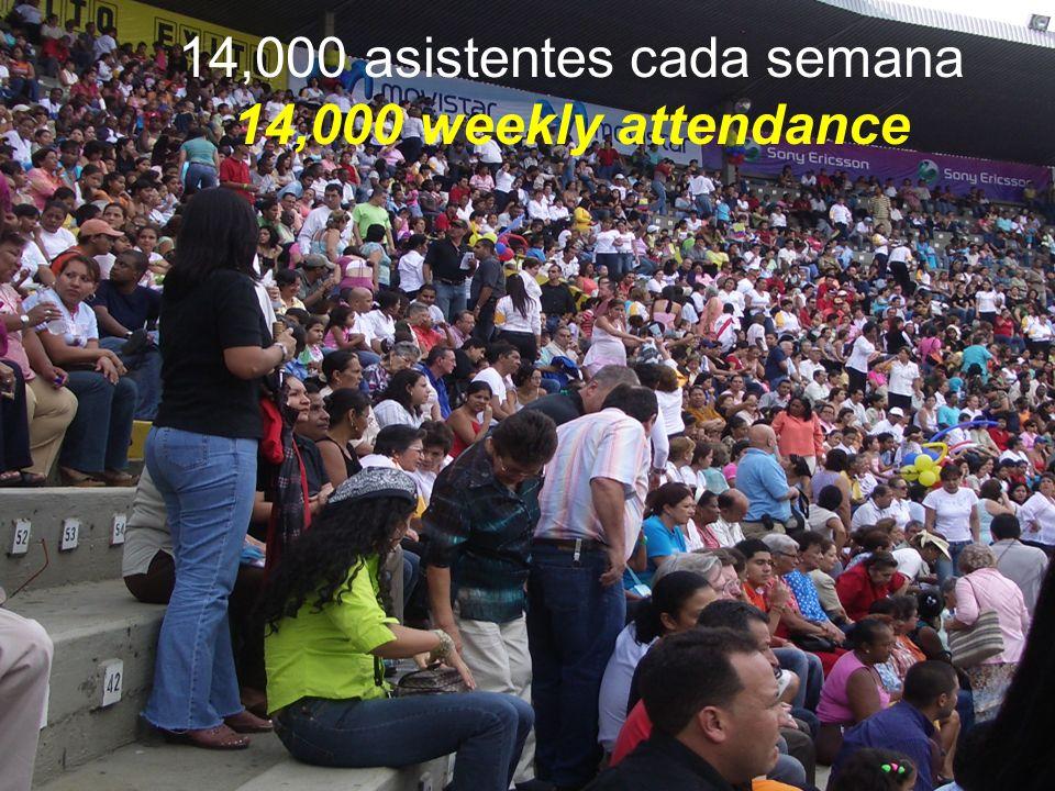 14,000 asistentes cada semana 14,000 weekly attendance