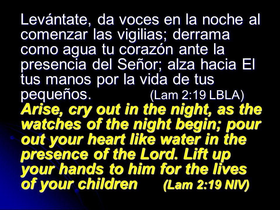 Levántate, da voces en la noche al comenzar las vigilias; derrama como agua tu corazón ante la presencia del Señor; alza hacia El tus manos por la vid