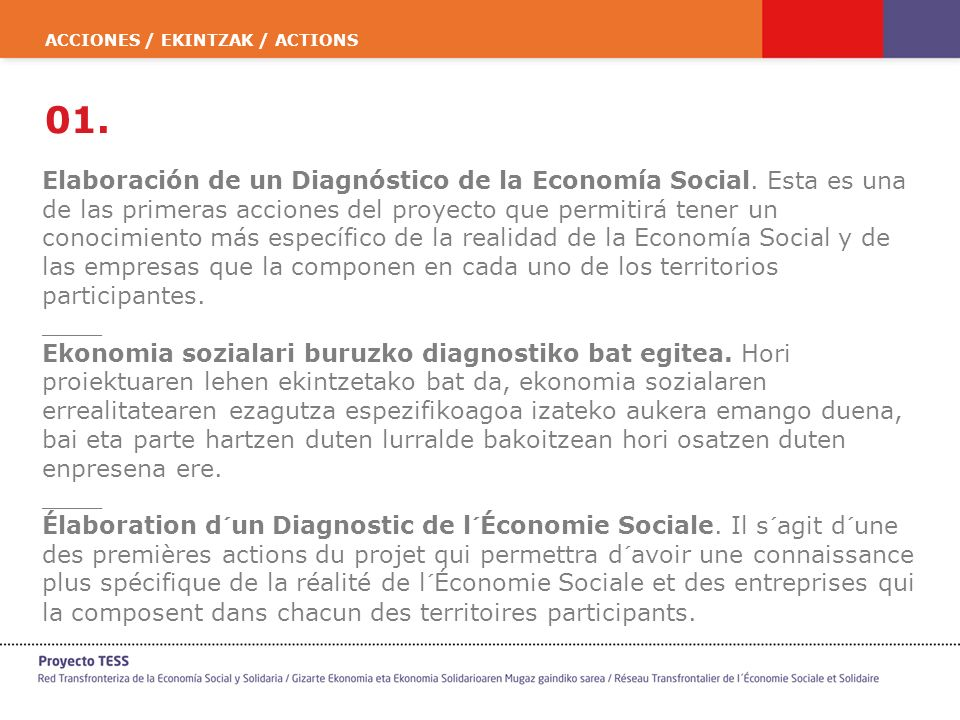 ACCIONES / EKINTZAK / ACTIONS 01. Elaboración de un Diagnóstico de la Economía Social. Esta es una de las primeras acciones del proyecto que permitirá