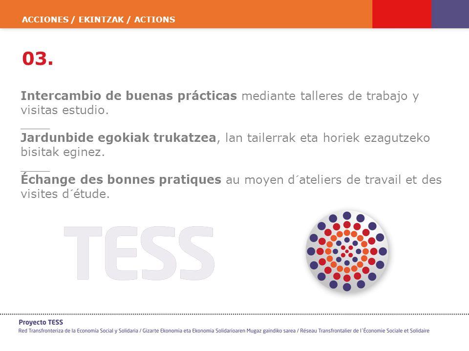 ACCIONES / EKINTZAK / ACTIONS 03. Intercambio de buenas prácticas mediante talleres de trabajo y visitas estudio. ____ Jardunbide egokiak trukatzea, l