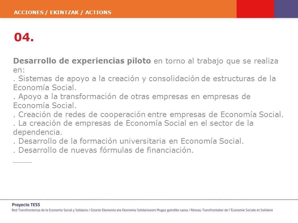 ACCIONES / EKINTZAK / ACTIONS 04. Desarrollo de experiencias piloto en torno al trabajo que se realiza en:. Sistemas de apoyo a la creación y consolid