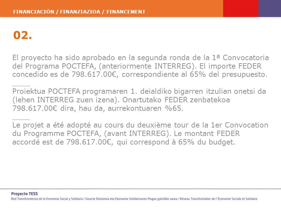 FINANCIACIÓN / FINANZIAZIOA / FINANCEMENT 02. El proyecto ha sido aprobado en la segunda ronda de la 1ª Convocatoria del Programa POCTEFA, (anteriorme