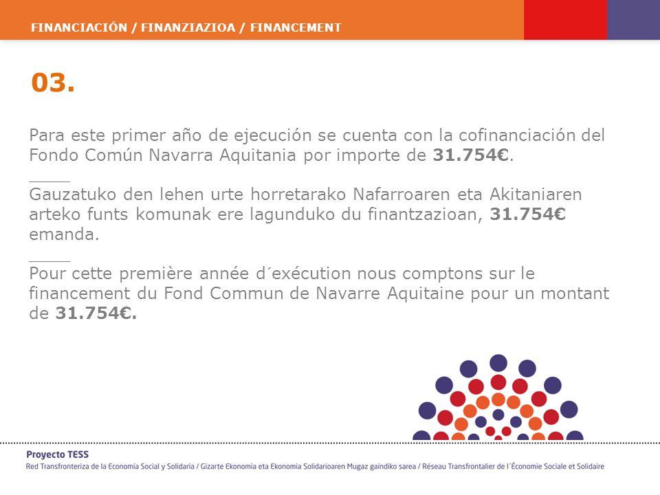 FINANCIACIÓN / FINANZIAZIOA / FINANCEMENT 03. Para este primer año de ejecución se cuenta con la cofinanciación del Fondo Común Navarra Aquitania por