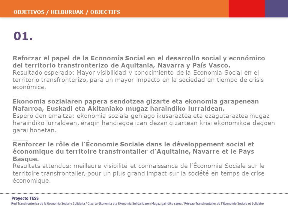 OBJETIVOS / HELBURUAK / OBJECTIFS 01. Reforzar el papel de la Economía Social en el desarrollo social y económico del territorio transfronterizo de Aq