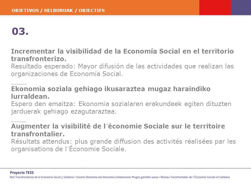 OBJETIVOS / HELBURUAK / OBJECTIFS 03. Incrementar la visibilidad de la Economía Social en el territorio transfronterizo. Resultado esperado: Mayor dif