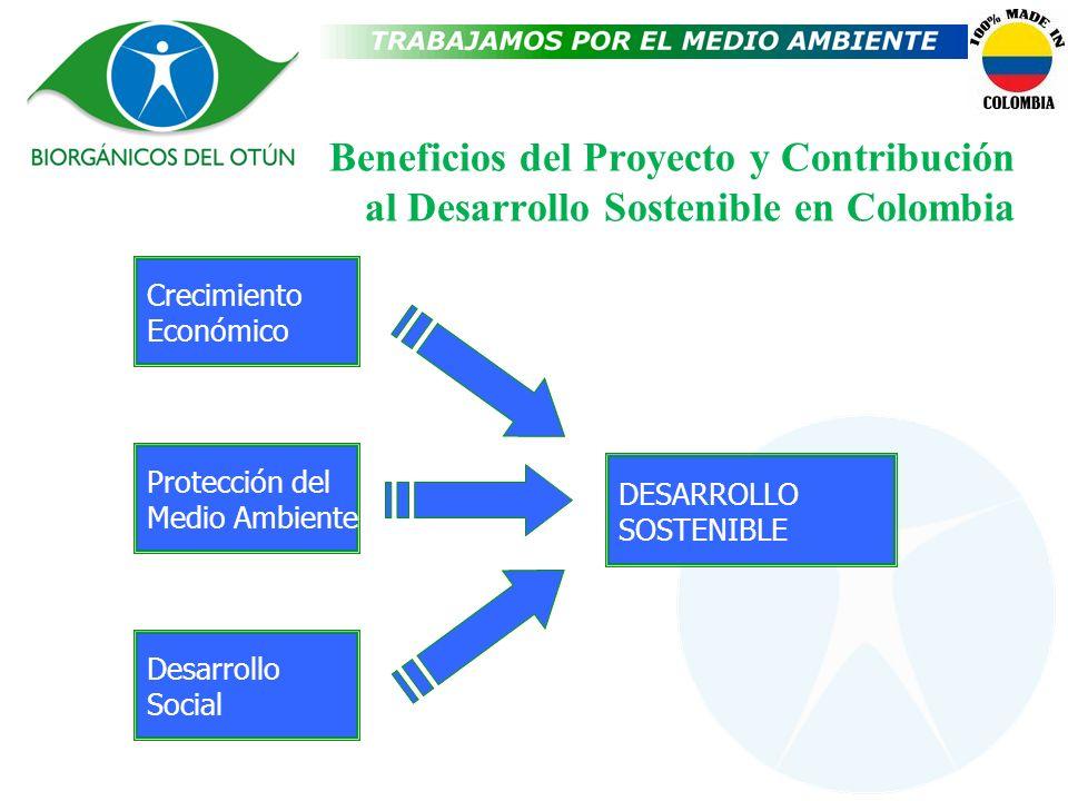 Beneficios del Proyecto y Contribución al Desarrollo Sostenible en Colombia Crecimiento Económico Protección del Medio Ambiente Desarrollo Social DESA