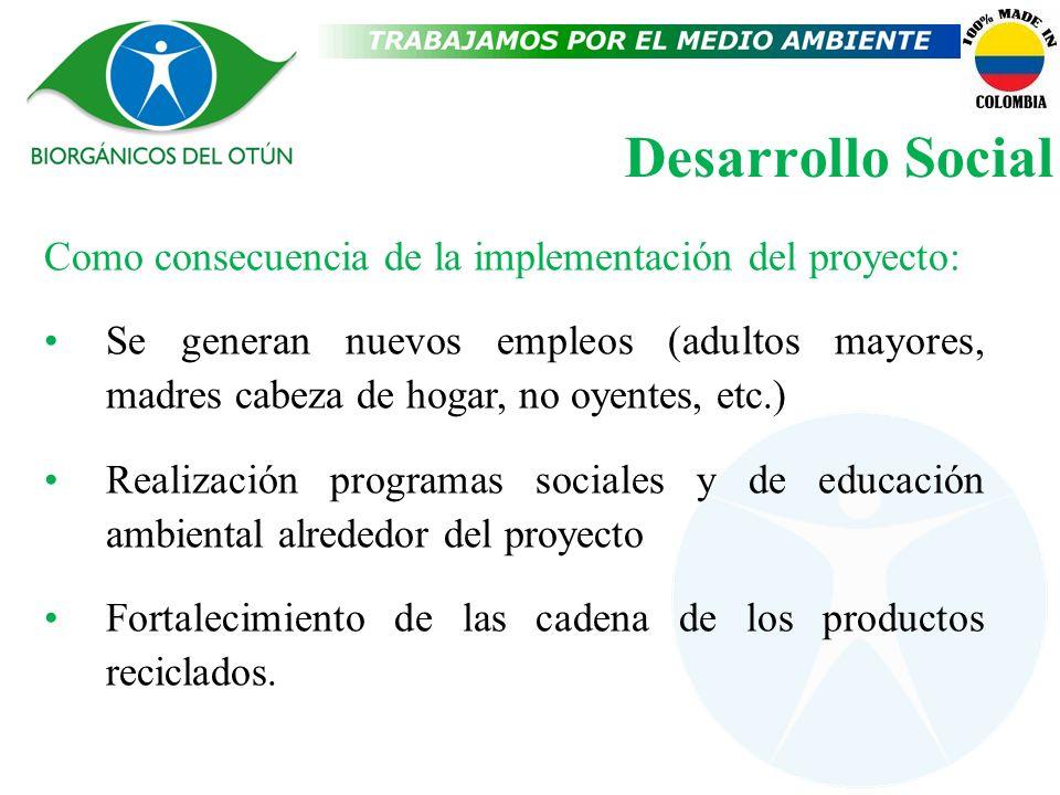 Desarrollo Social Como consecuencia de la implementación del proyecto: Se generan nuevos empleos (adultos mayores, madres cabeza de hogar, no oyentes,