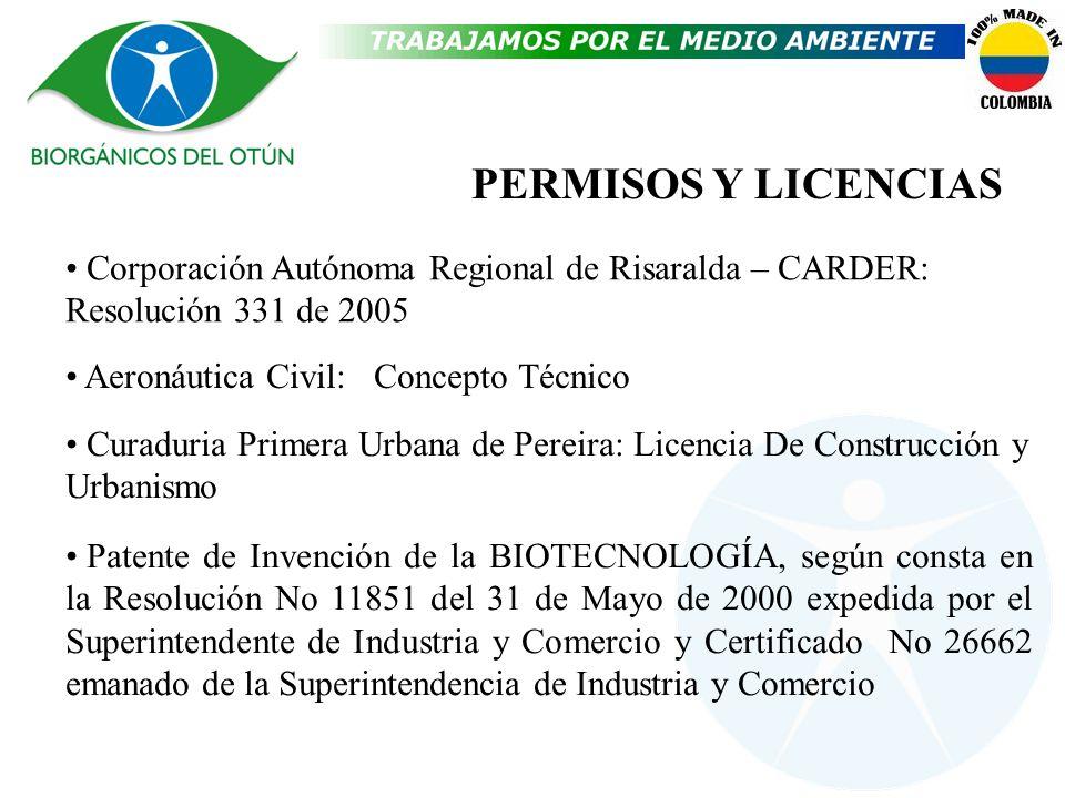 PERMISOS Y LICENCIAS Corporación Autónoma Regional de Risaralda – CARDER: Resolución 331 de 2005 Aeronáutica Civil: Concepto Técnico Patente de Invenc