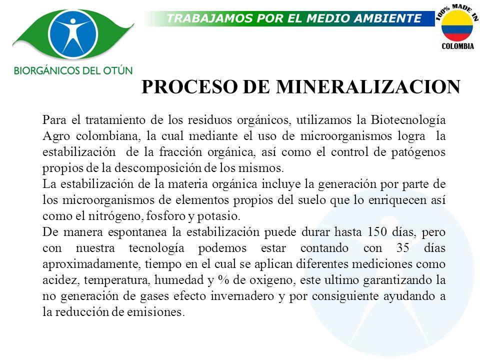 PROCESO DE MINERALIZACION Para el tratamiento de los residuos orgánicos, utilizamos la Biotecnología Agro colombiana, la cual mediante el uso de micro