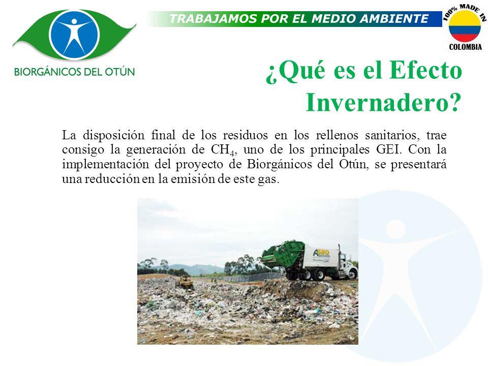 ¿Qué es el Efecto Invernadero? La disposición final de los residuos en los rellenos sanitarios, trae consigo la generación de CH 4, uno de los princip
