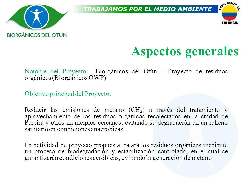Aspectos generales Nombre del Proyecto: Biorgánicos del Otún – Proyecto de residuos orgánicos (Biorgánicos OWP). Objetivo principal del Proyecto: Redu