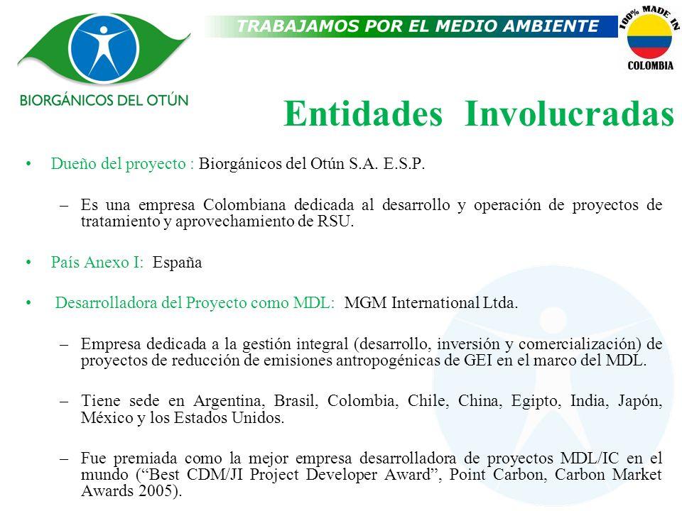 Entidades Involucradas Dueño del proyecto : Biorgánicos del Otún S.A. E.S.P. –Es una empresa Colombiana dedicada al desarrollo y operación de proyecto