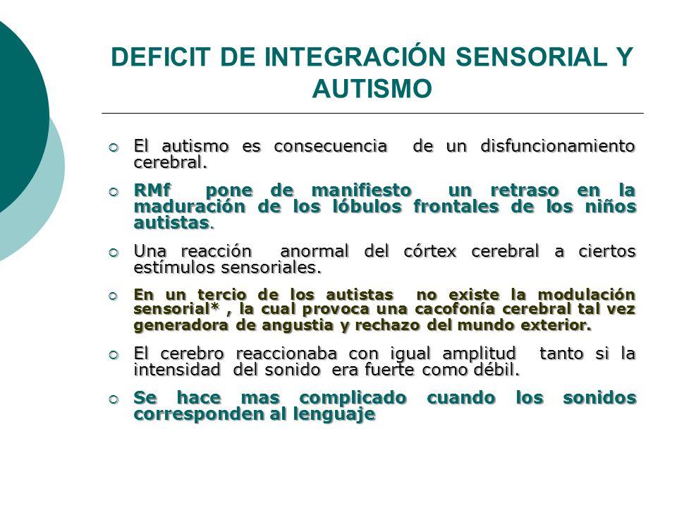 DEFICIT DE INTEGRACIÓN SENSORIAL Y AUTISMO El autismo es consecuencia de un disfuncionamiento cerebral. El autismo es consecuencia de un disfuncionami
