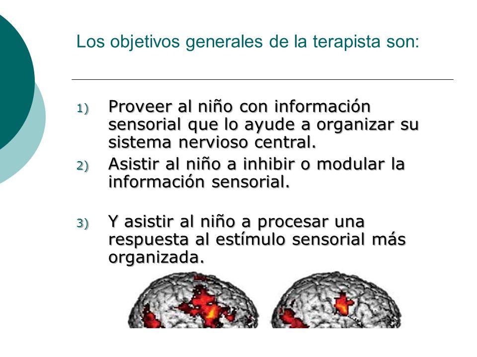 Los objetivos generales de la terapista son: 1) Proveer al niño con información sensorial que lo ayude a organizar su sistema nervioso central. 2) Asi