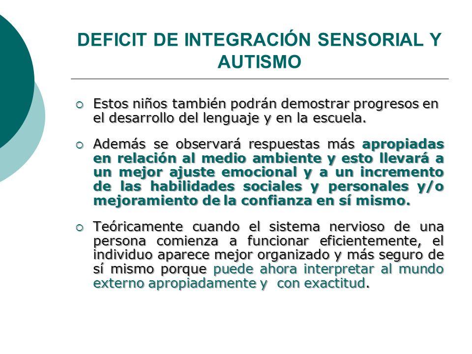 DEFICIT DE INTEGRACIÓN SENSORIAL Y AUTISMO Estos niños también podrán demostrar progresos en el desarrollo del lenguaje y en la escuela. Estos niños t