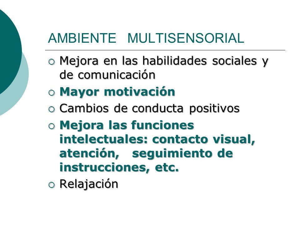 AMBIENTE MULTISENSORIAL Mejora en las habilidades sociales y de comunicación Mejora en las habilidades sociales y de comunicación Mayor motivación May