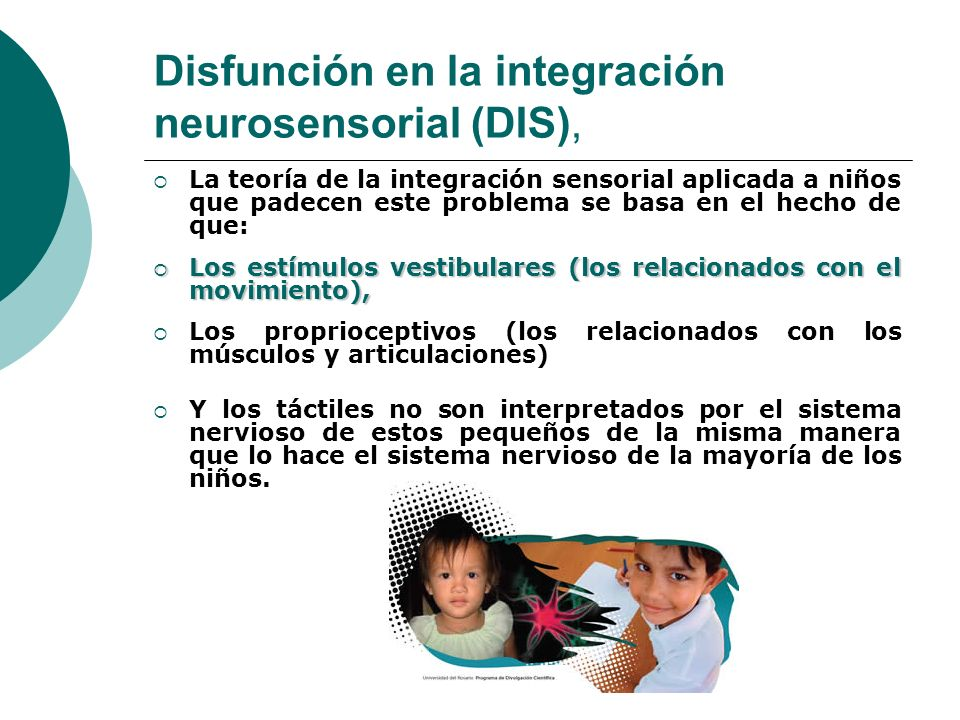 Disfunción en la integración neurosensorial (DIS), La teoría de la integración sensorial aplicada a niños que padecen este problema se basa en el hech