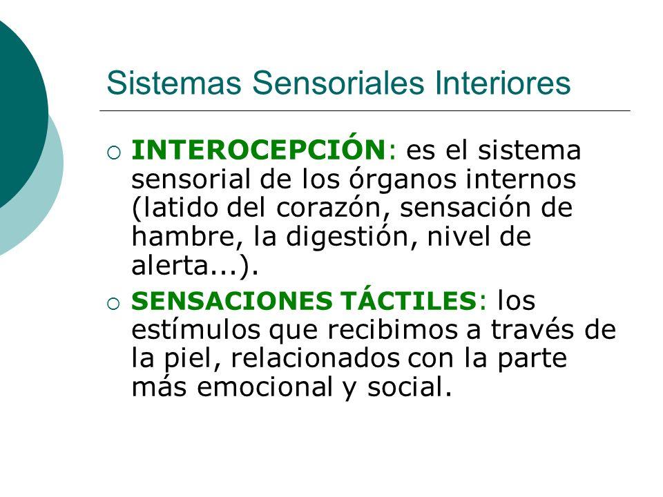 Sistemas Sensoriales Interiores INTEROCEPCIÓN: es el sistema sensorial de los órganos internos (latido del corazón, sensación de hambre, la digestión,