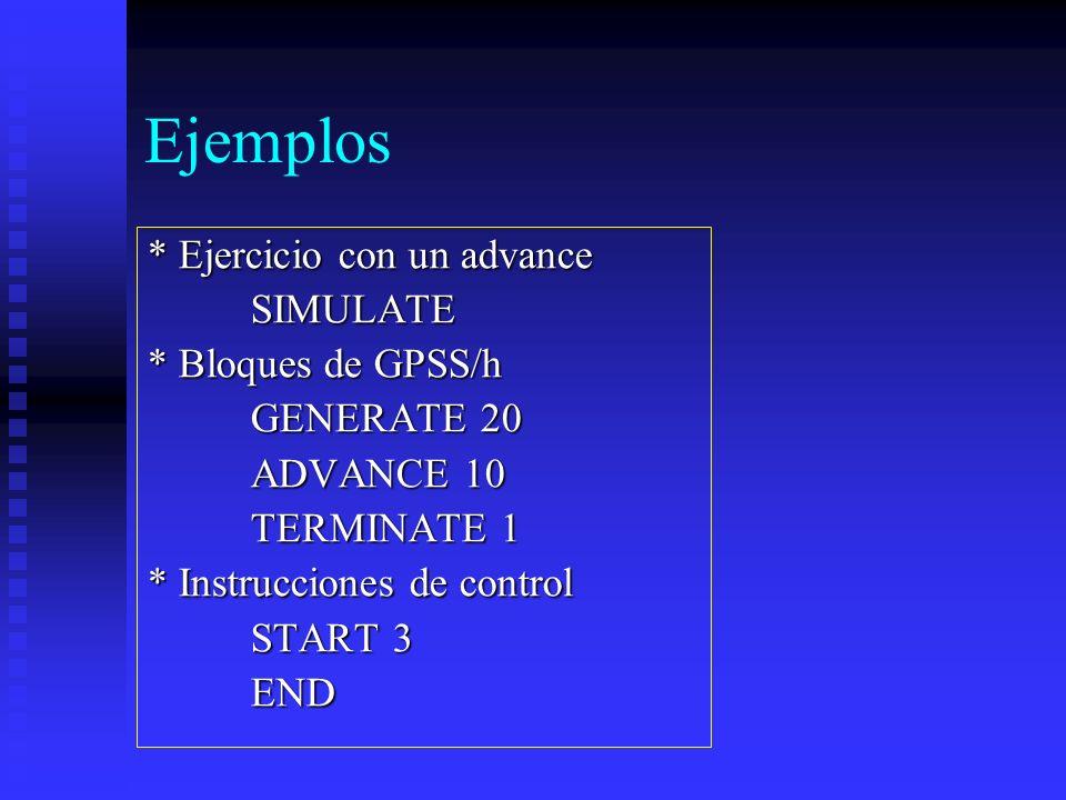 Ejemplos * Ejercicio con un advance SIMULATE SIMULATE * Bloques de GPSS/h GENERATE 20 GENERATE 20 ADVANCE 10 ADVANCE 10 TERMINATE 1 TERMINATE 1 * Inst