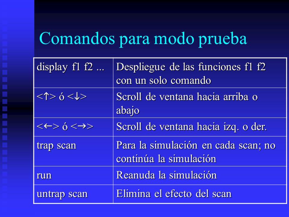 Comandos para modo prueba display f1 f2... Despliegue de las funciones f1 f2 con un solo comando ó ó Scroll de ventana hacia arriba o abajo ó ó Scroll