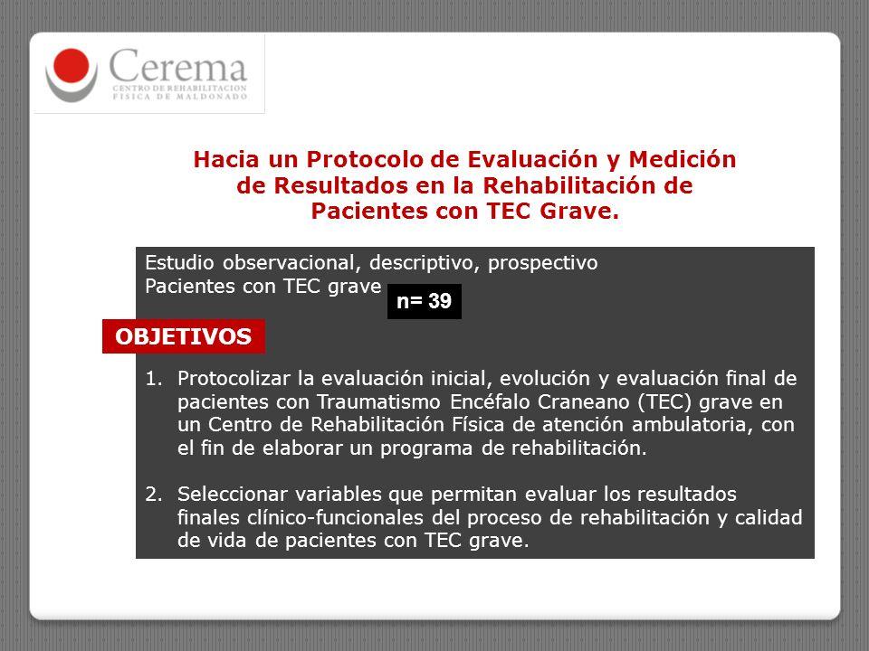 Hacia un Protocolo de Evaluación y Medición de Resultados en la Rehabilitación de Pacientes con TEC Grave. Estudio observacional, descriptivo, prospec