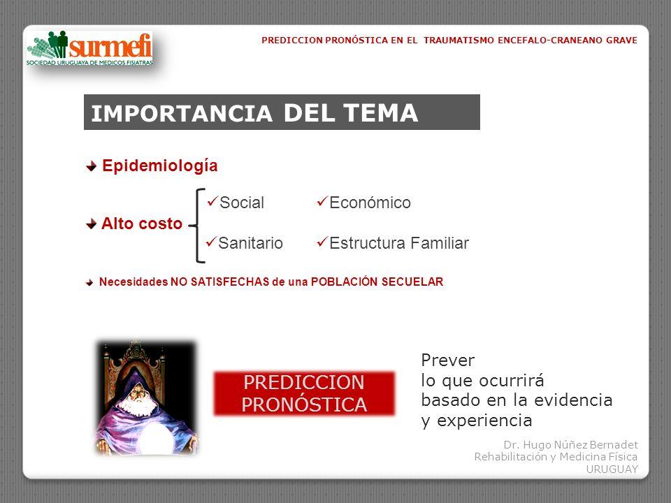 IMPORTANCIA DEL TEMA Epidemiología PREDICCION PRONÓSTICA Prever lo que ocurrirá basado en la evidencia y experiencia PREDICCION PRONÓSTICA EN EL TRAUM