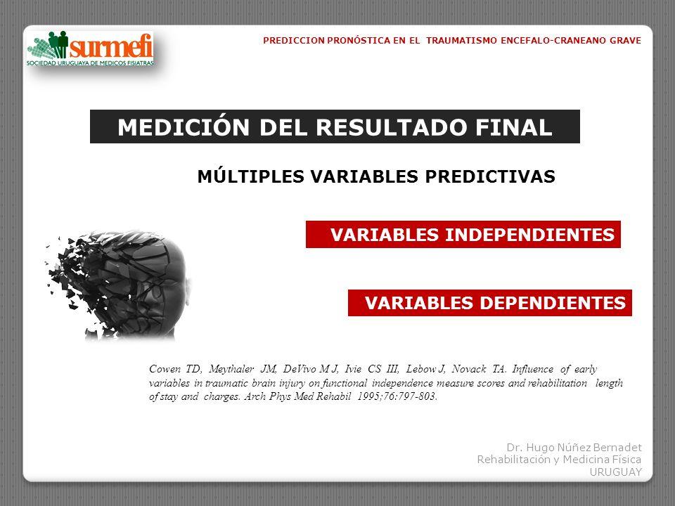VARIABLES INDEPENDIENTESVARIABLES DEPENDIENTES GCS GOS DRS F I M HOSPITALIZACIÓN AGUDA INTERNACIÓN EN RHB COSTOS EN RHB Neuroimágenes PATOLÓGICAS EDAD FRACTURAS EN EXTREMIDADES F I M motor F I M cognitivo PREDICCION PRONÓSTICA EN EL TRAUMATISMO ENCEFALO-CRANEANO GRAVE Cowen TD, Meythaler JM, DeVivo M J, Ivie CS III, Lebow J, Novack TA.