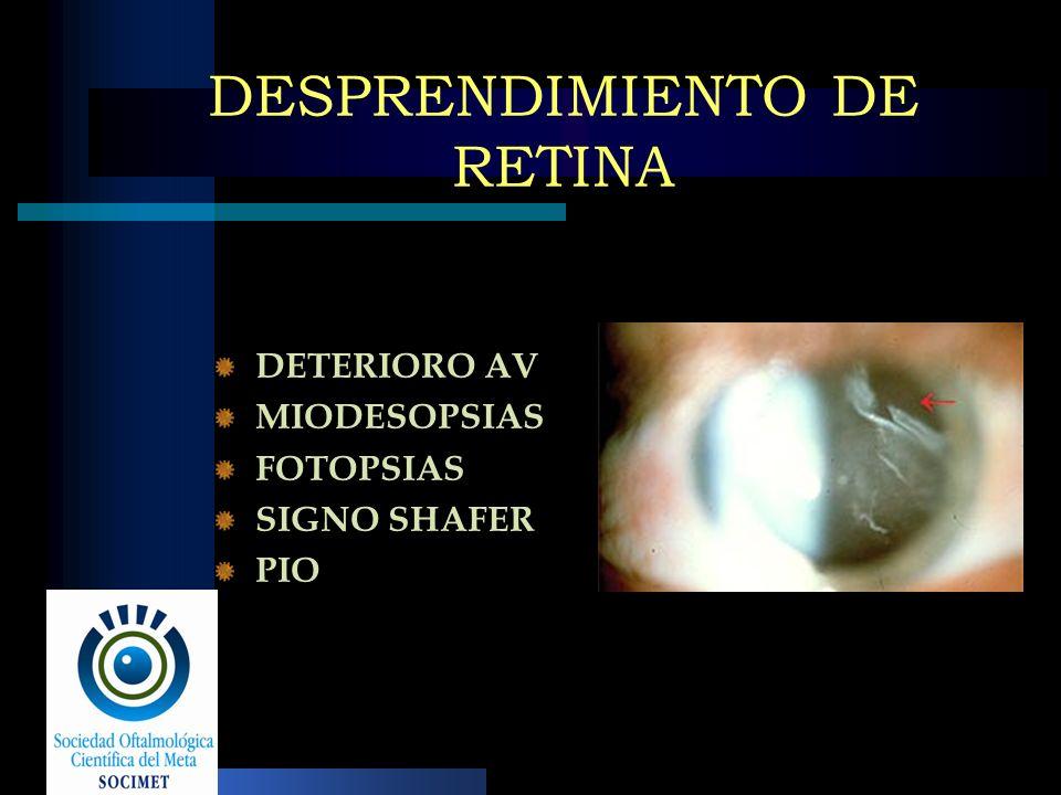 DESPRENDIMIENTO DE RETINA DETERIORO AV MIODESOPSIAS FOTOPSIAS SIGNO SHAFER PIO