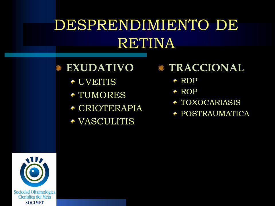 DESPRENDIMIENTO DE RETINA EXUDATIVO UVEITIS TUMORES CRIOTERAPIA VASCULITIS TRACCIONAL RDP ROP TOXOCARIASIS POSTRAUMATICA