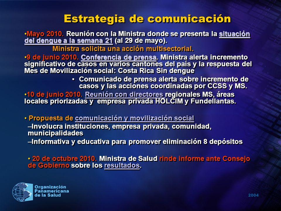 2004 Organización Panamericana de la Salud Estrategia de comunicación situación del dengue a la semana 21 situación del dengue a la semana 21Mayo 2010