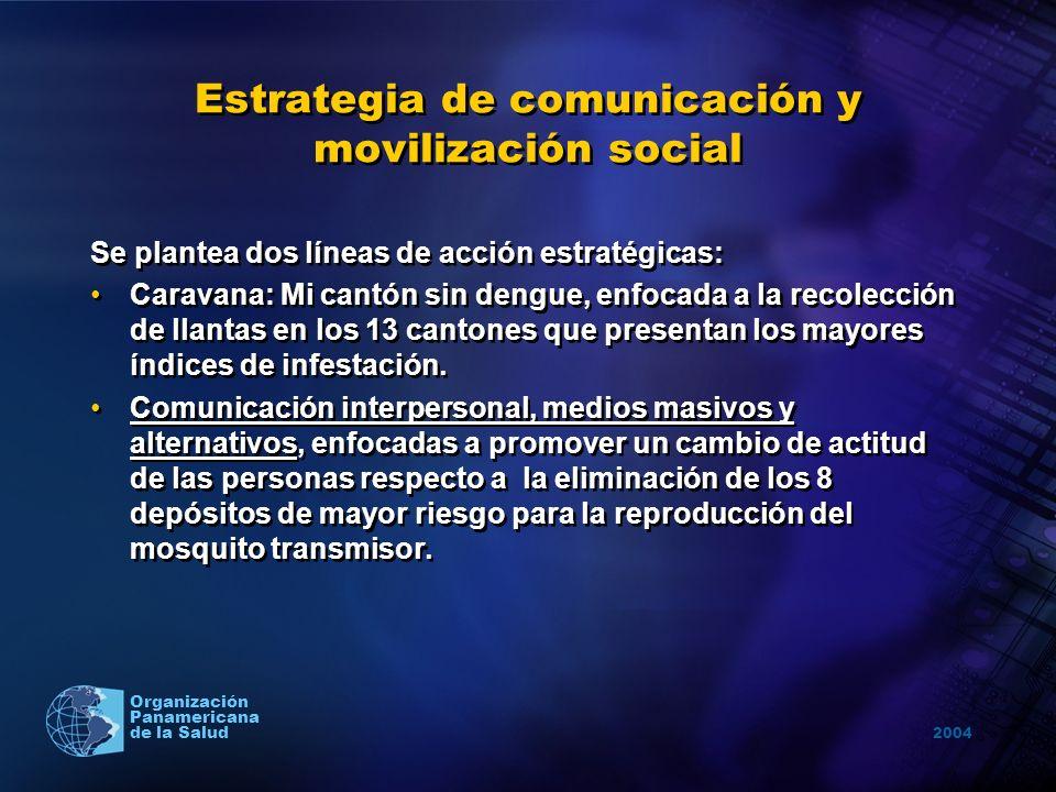 2004 Organización Panamericana de la Salud Estrategia de comunicación y movilización social Se plantea dos líneas de acción estratégicas: Caravana: Mi
