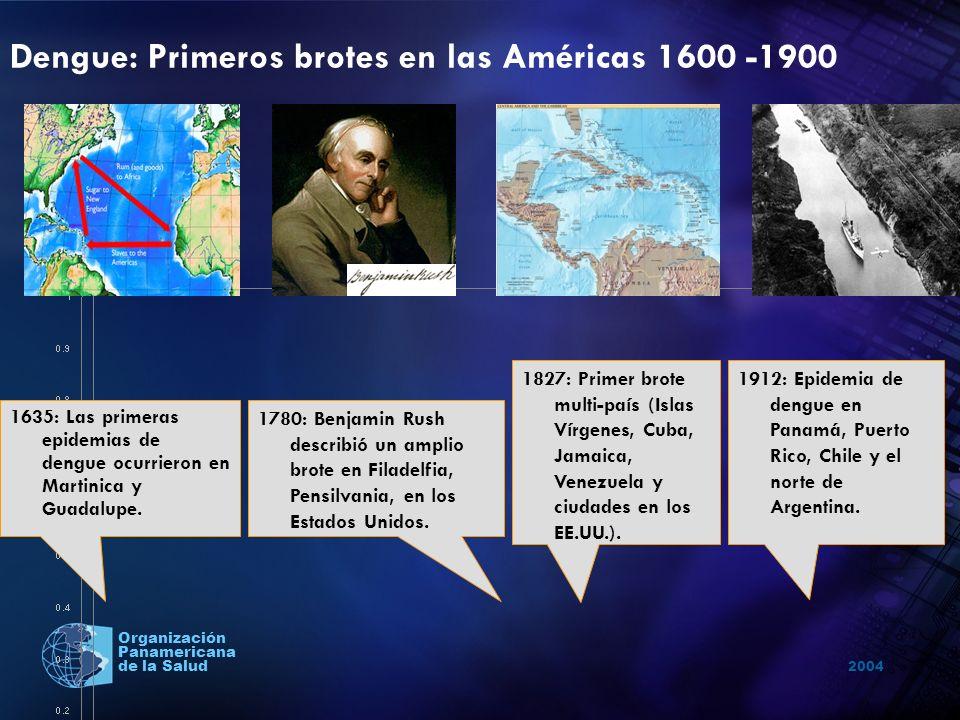 2004 Organización Panamericana de la Salud Dengue: Primeros brotes en las Américas 1600 -1900 1635: Las primeras epidemias de dengue ocurrieron en Mar
