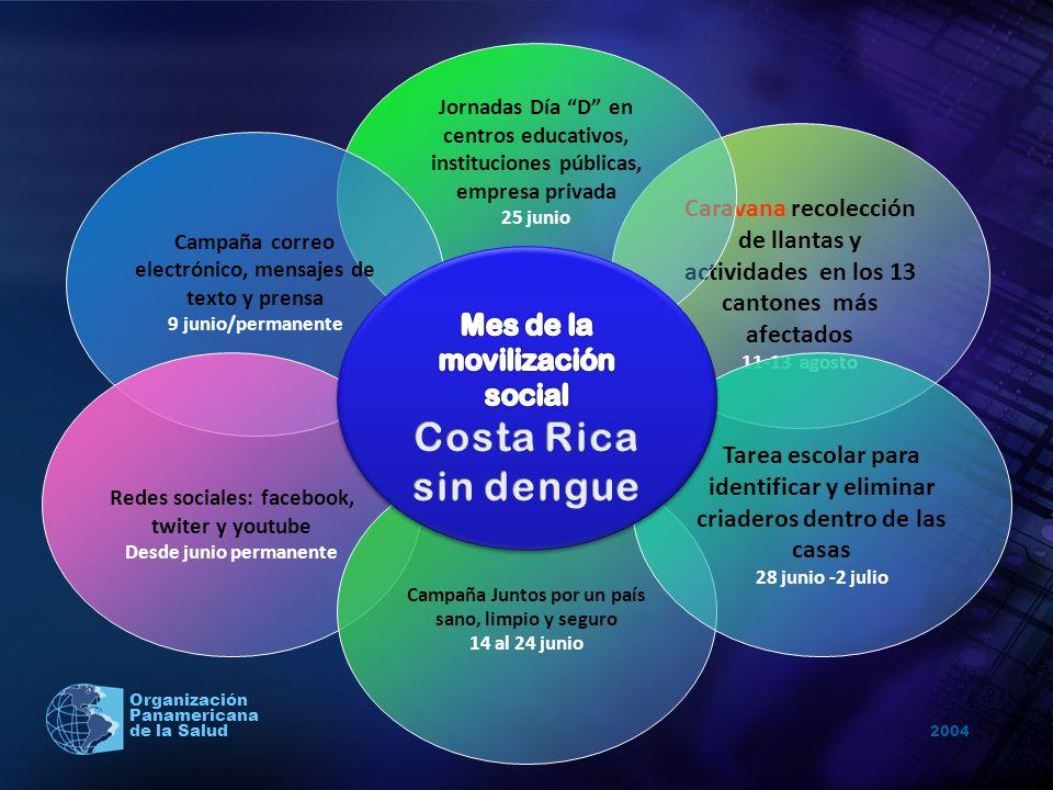 2004 Organización Panamericana de la Salud Caravana recolección de llantas y actividades en los 13 cantones más afectados 11-13 agosto Jornadas Día D