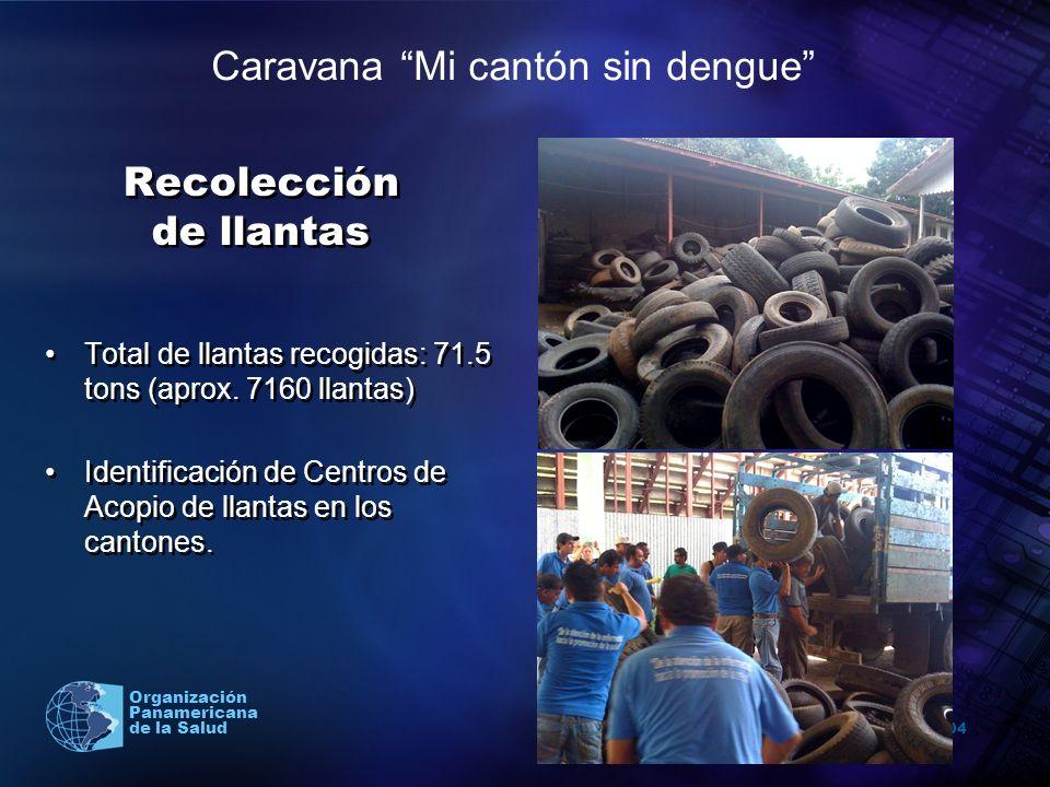 2004 Organización Panamericana de la Salud Recolección de llantas Total de llantas recogidas: 71.5 tons (aprox. 7160 llantas) Identificación de Centro