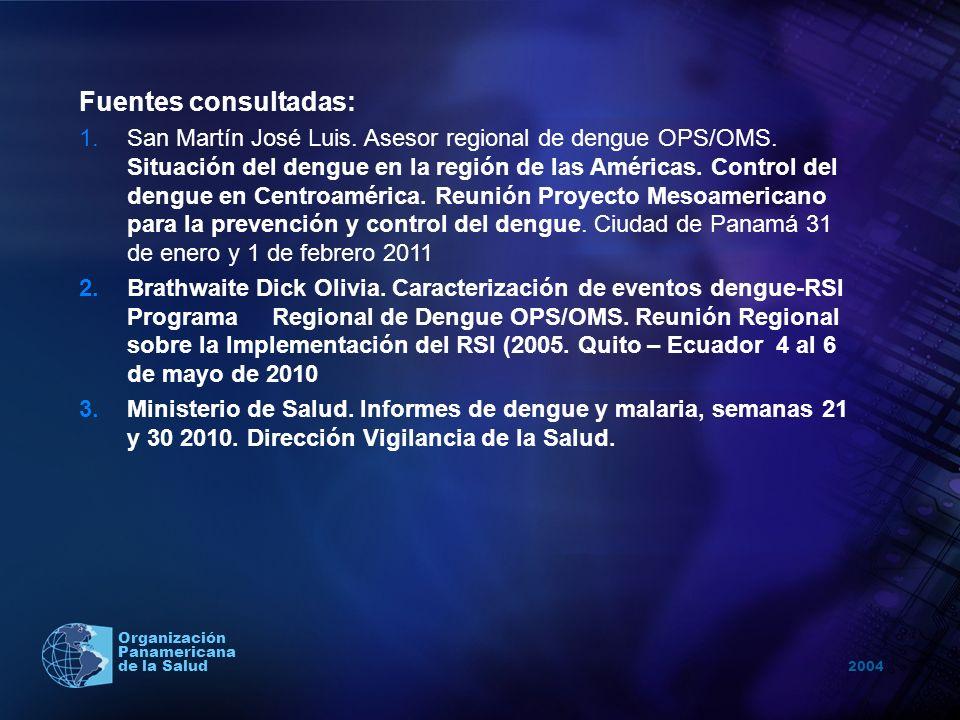 2004 Organización Panamericana de la Salud Fuentes consultadas: 1.San Martín José Luis. Asesor regional de dengue OPS/OMS. Situación del dengue en la